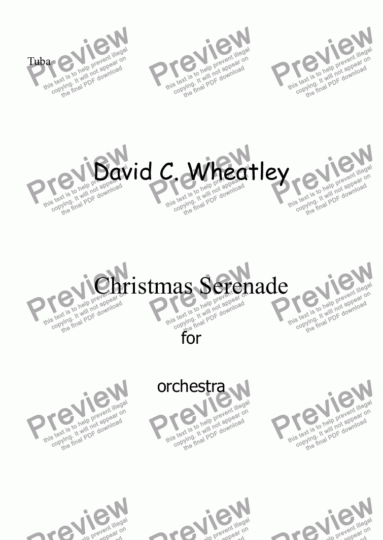 page one of the Tuba part from Christmas Serenade for orchestra by David Wheatley