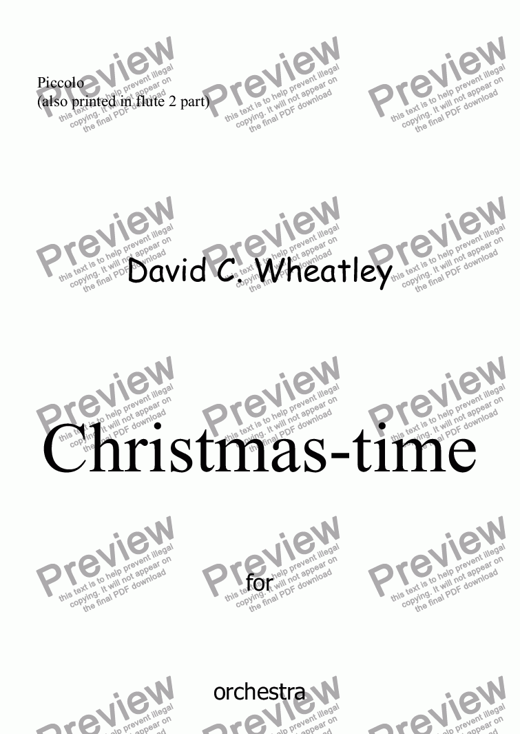 page one of the Piccolo part from Christmas-time for full orchestra by David Wheatley