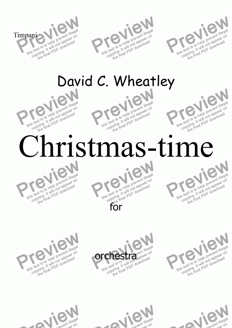page one of the Timpani part from Christmas-time for full orchestra by David Wheatley