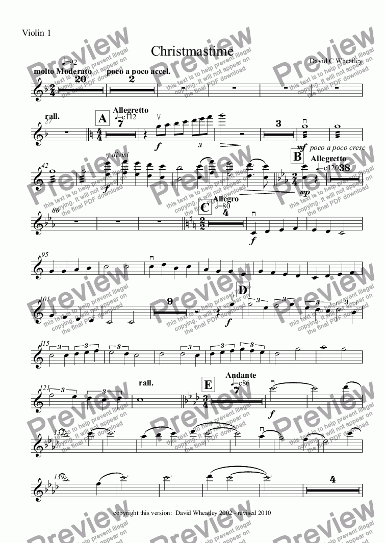 page one of the Violin 1 part from Christmas-time for full orchestra by David Wheatley