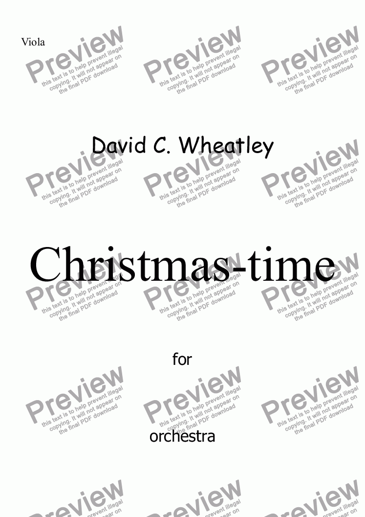 page one of the Viola part from Christmas-time for full orchestra by David Wheatley