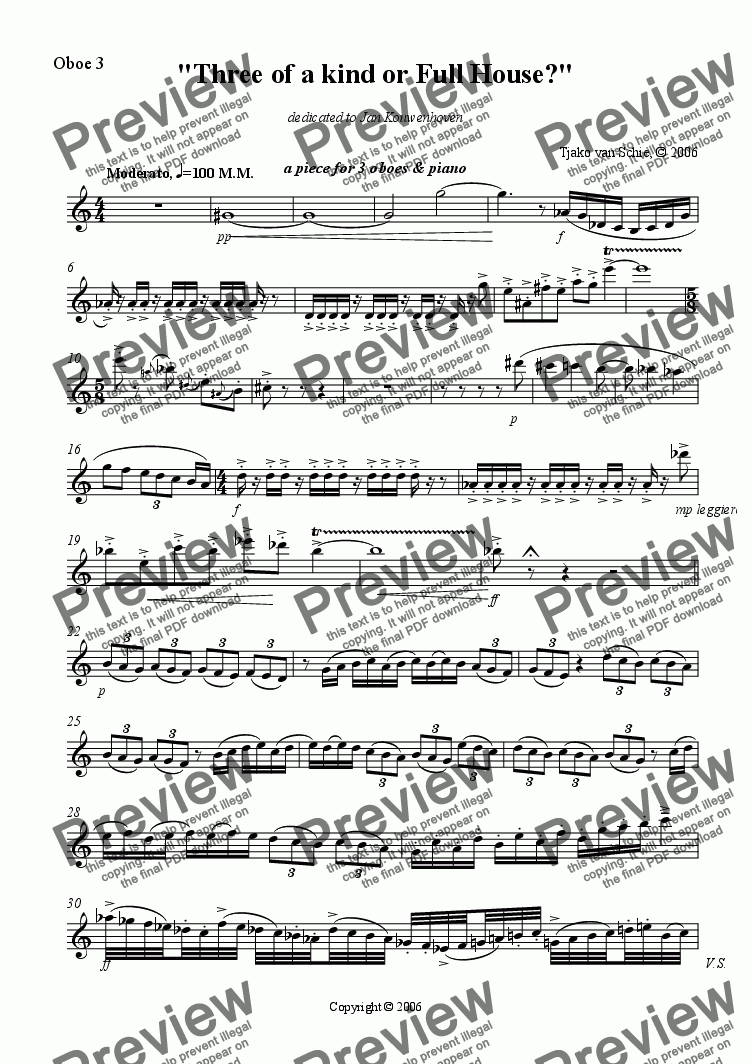 page one of the Oboe 3 part from Three of a kind or Full House - for 3 oboes and piano