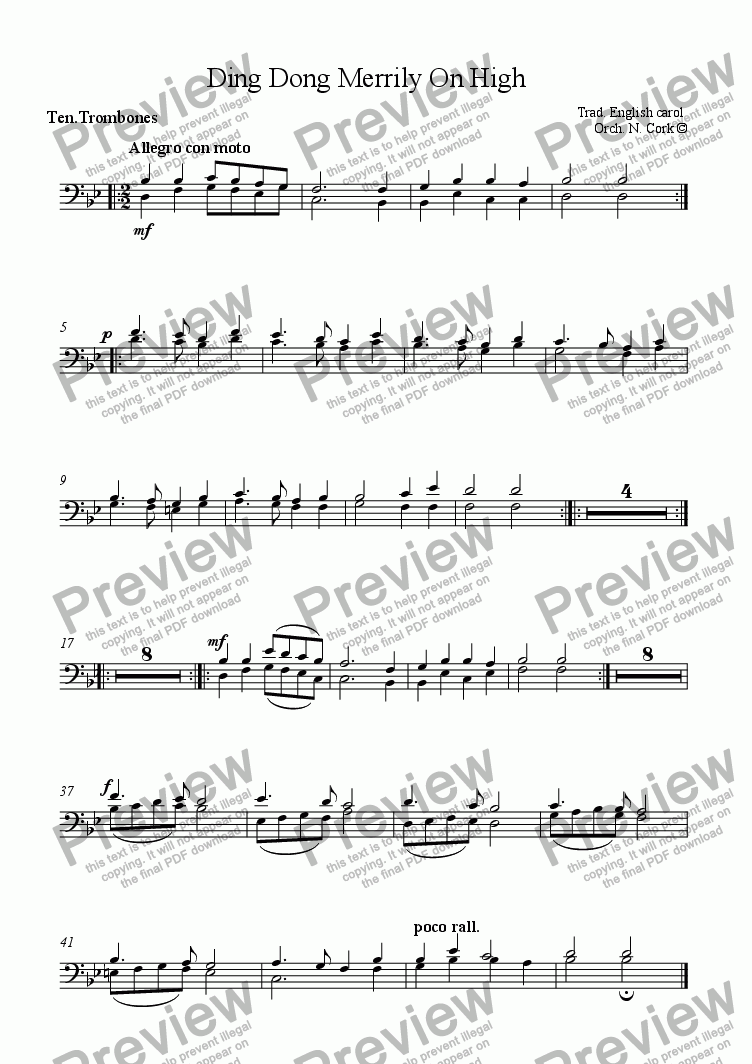 page one of the Tenor Trombones part from Ding Dong Merrily On High