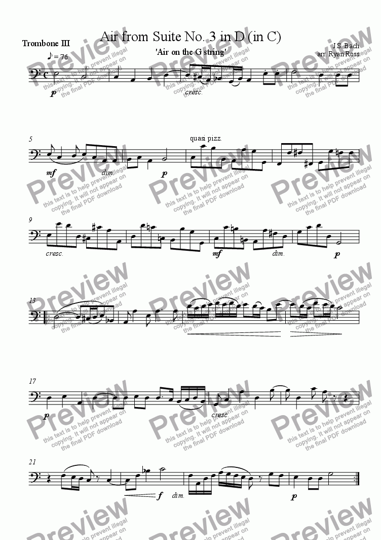 page one of the Trombone III part from Air from Suite No. 3 (Air on the G string)