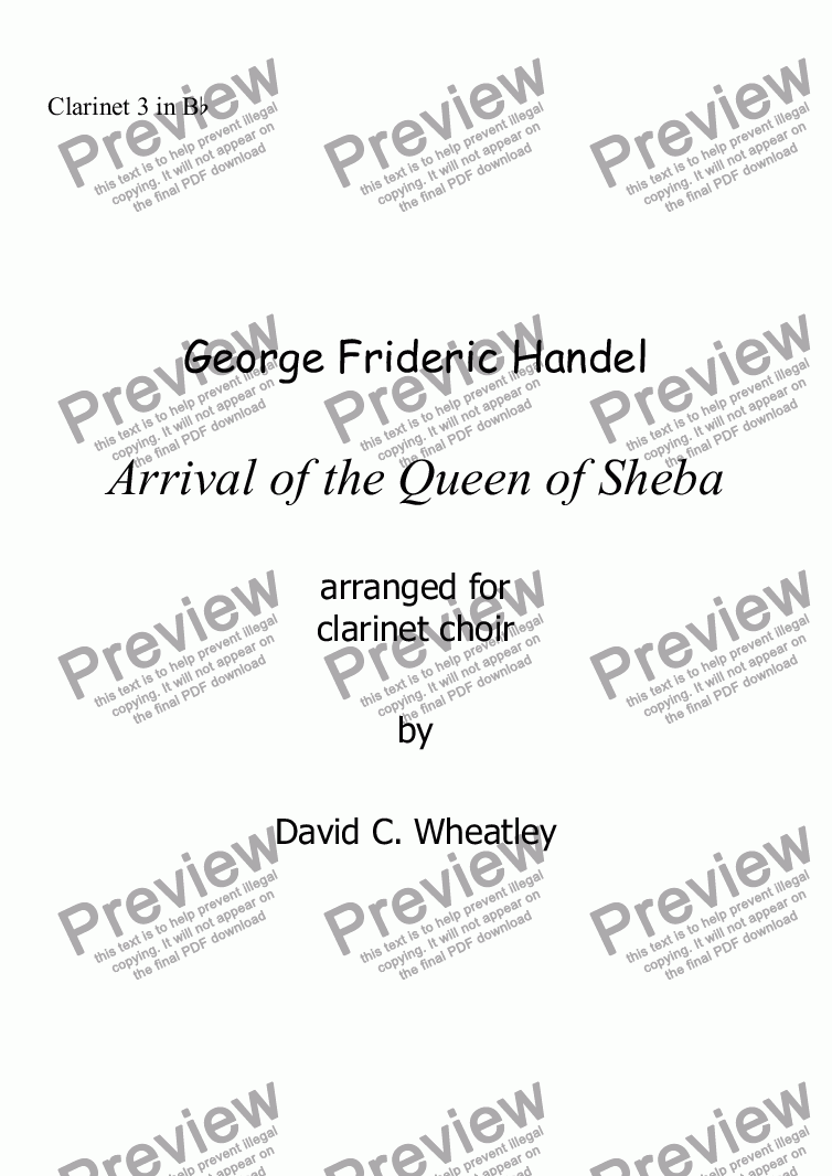 page one of the Clarinet 3 in Bb part from Handel - Arrival of the Queen of Sheba for clarinet choir