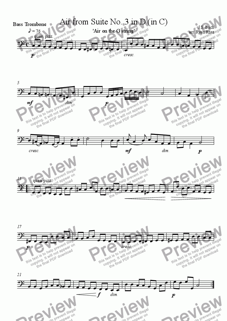 page one of the Trombone IV (Bass Trombone) part from Air from Suite No. 3 (Air on the G string)