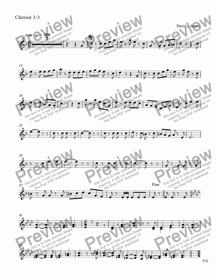 page one of the Clarinet 2-3 part from Maria's March