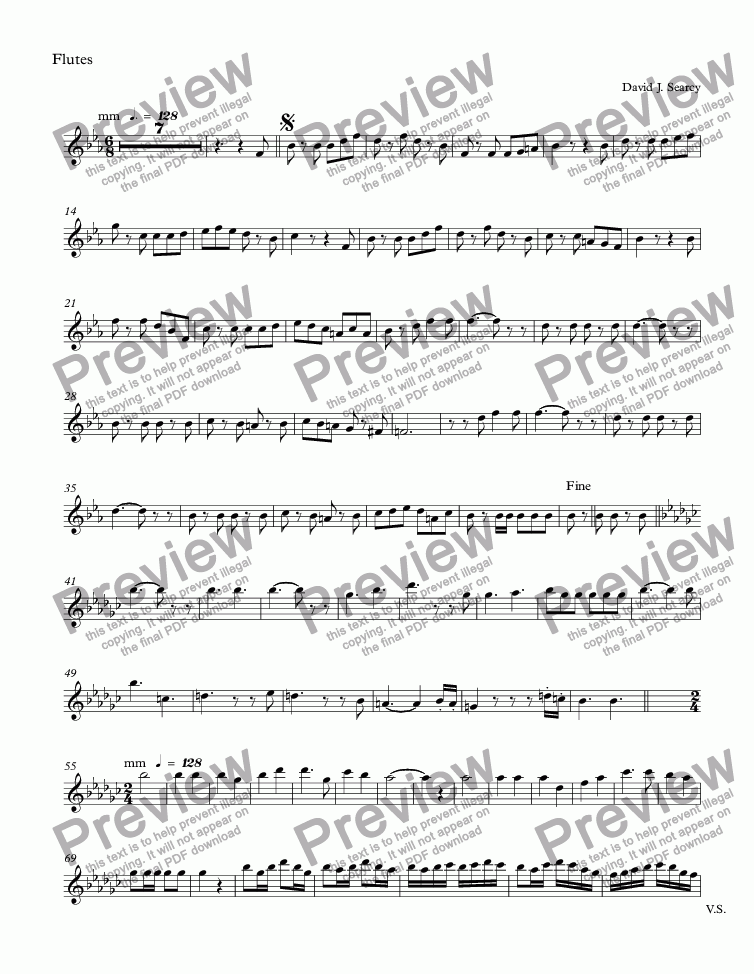 page one of the Flutes part from Maria's March