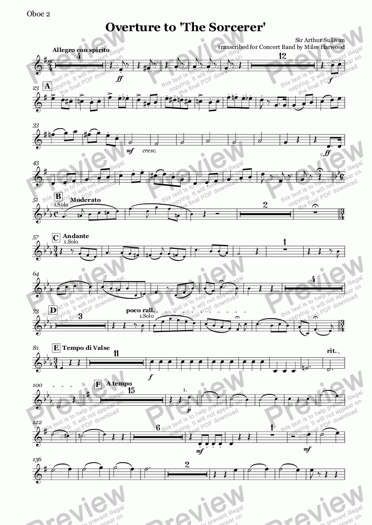page one of the Oboes 1/2 part from Overture to 'The Sorcerer'