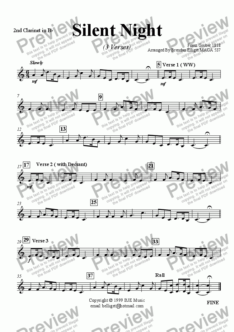 page one of the Clarinet 2 part from Silent Night (Christmas) - Concert Band