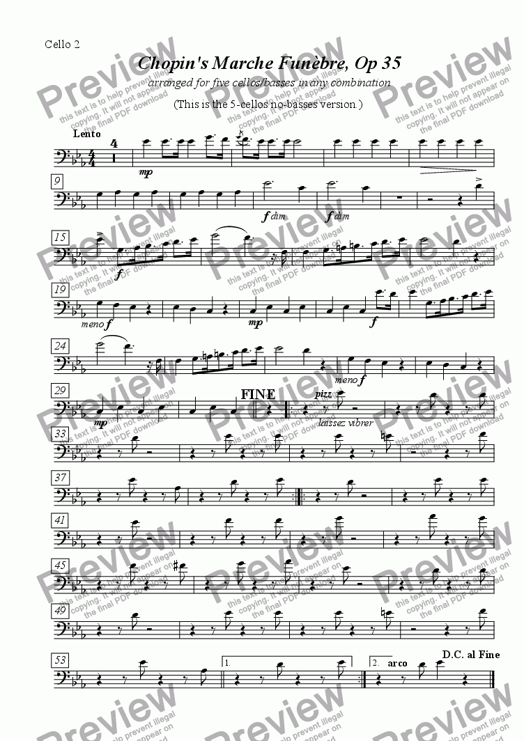 page one of the cello 2 part from Marche Funèbre [5Vc], from Chopin Op 35