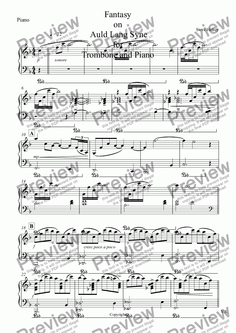 page one of the Piano part from Fantasy on   Auld Lang Syne  for Trombone and Piano