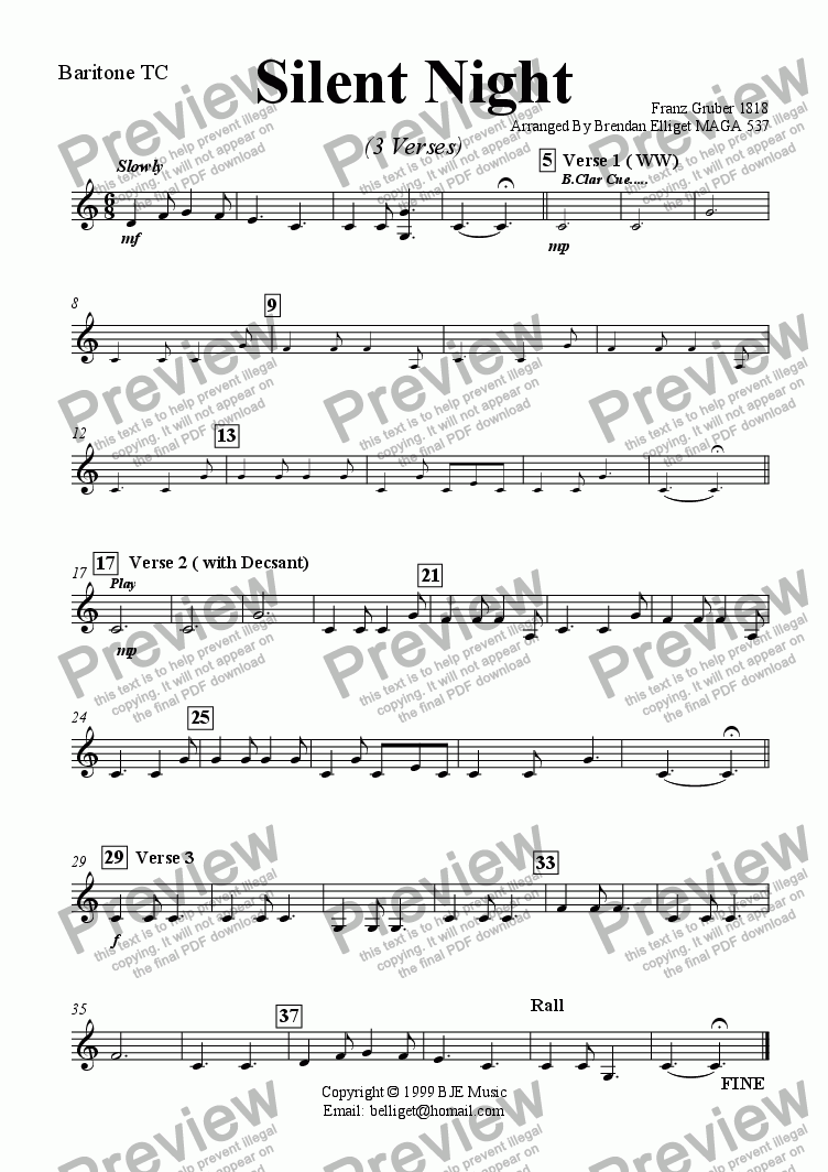 page one of the Baritone TC (Euphonium) part from Silent Night (Christmas) - Concert Band