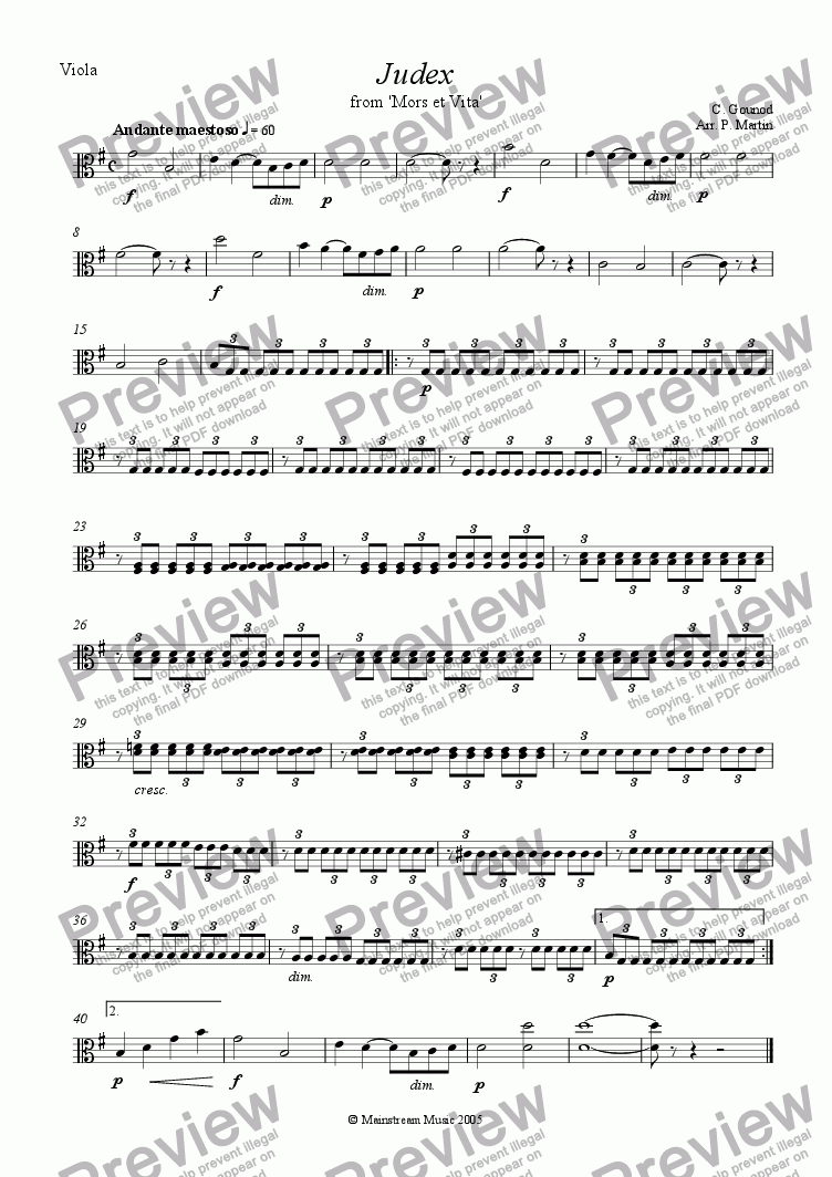 page one of the Viola part from Judex from 'Mors et Vita'