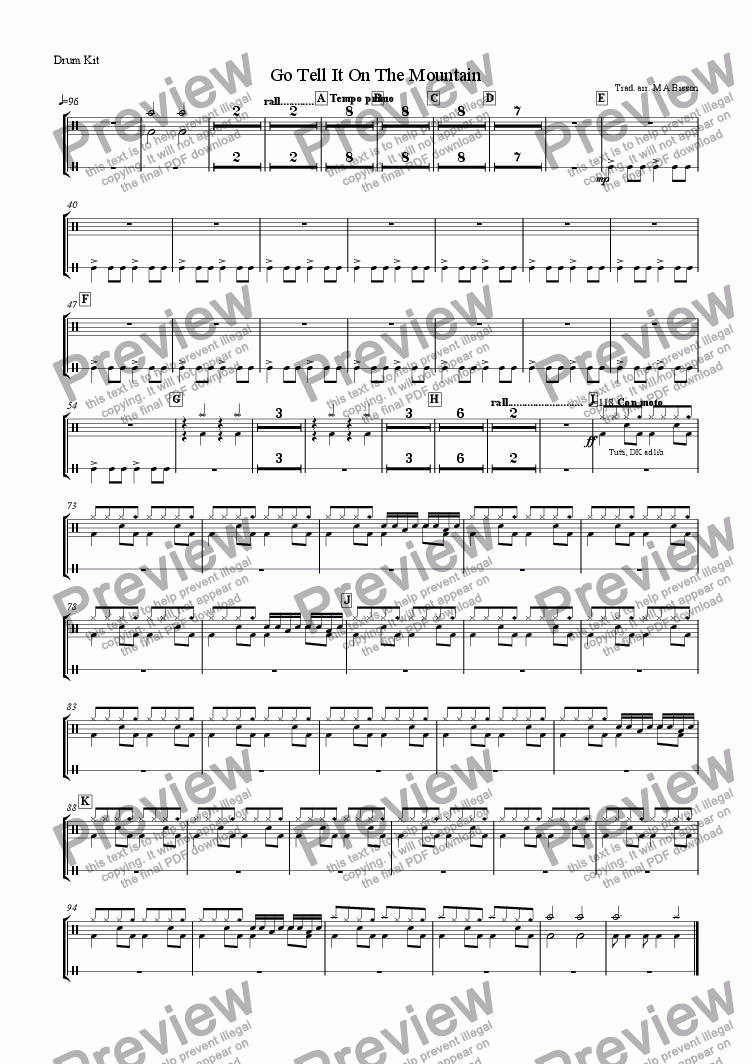 page one of the Percussion: Side drum & Drumkit part from Go Tell It On The Mountain (Christmas Spiritual for Orchestra)