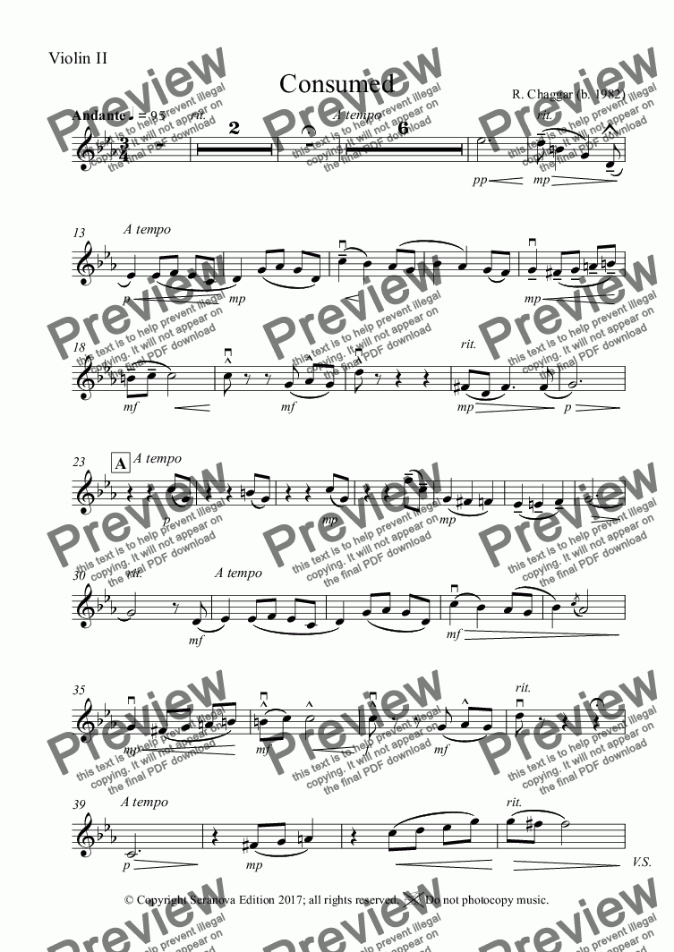 page one of the Consumed - Violin II part from Consumed