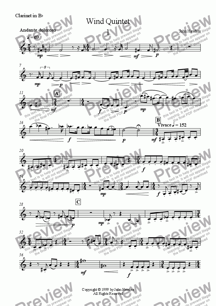page one of the Clarinet (Bb) part from Wind Quintet