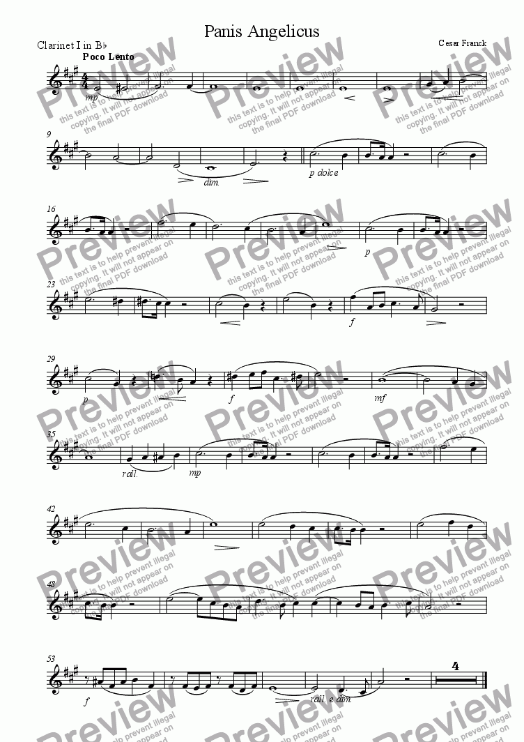 page one of the Clarinet 1 part from Panis Angelicus