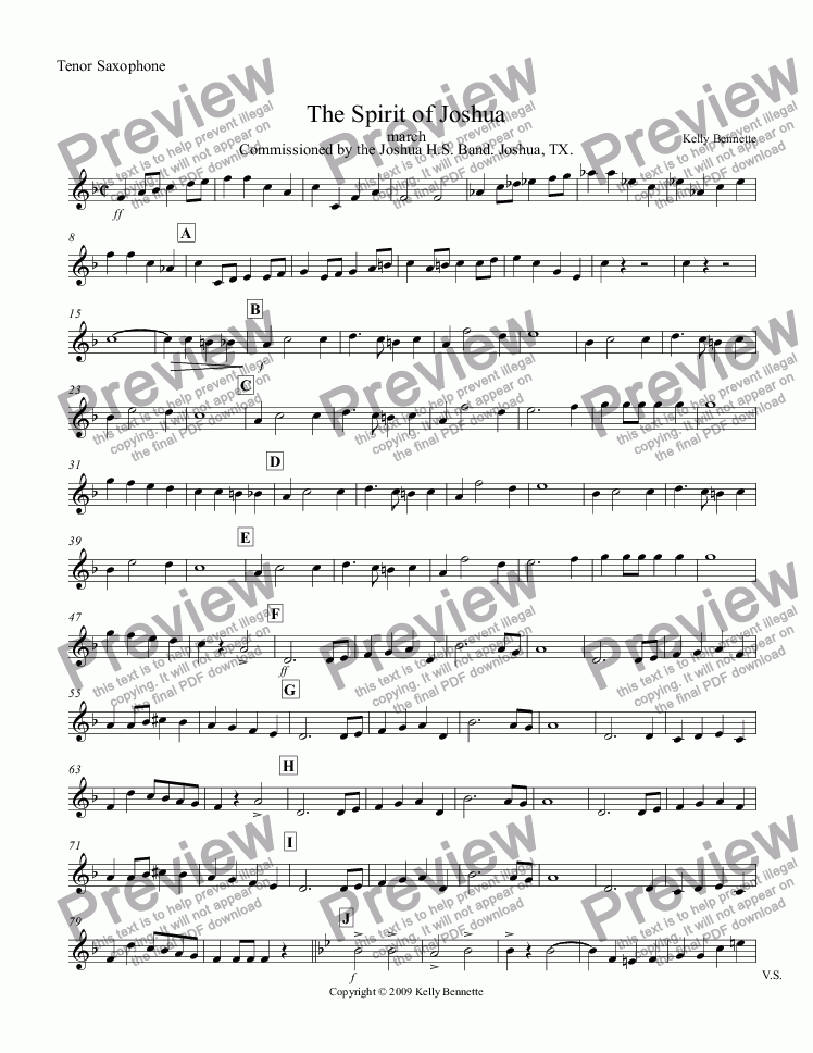 page one of the Tenor Saxophone part from The Spirit of Joshua