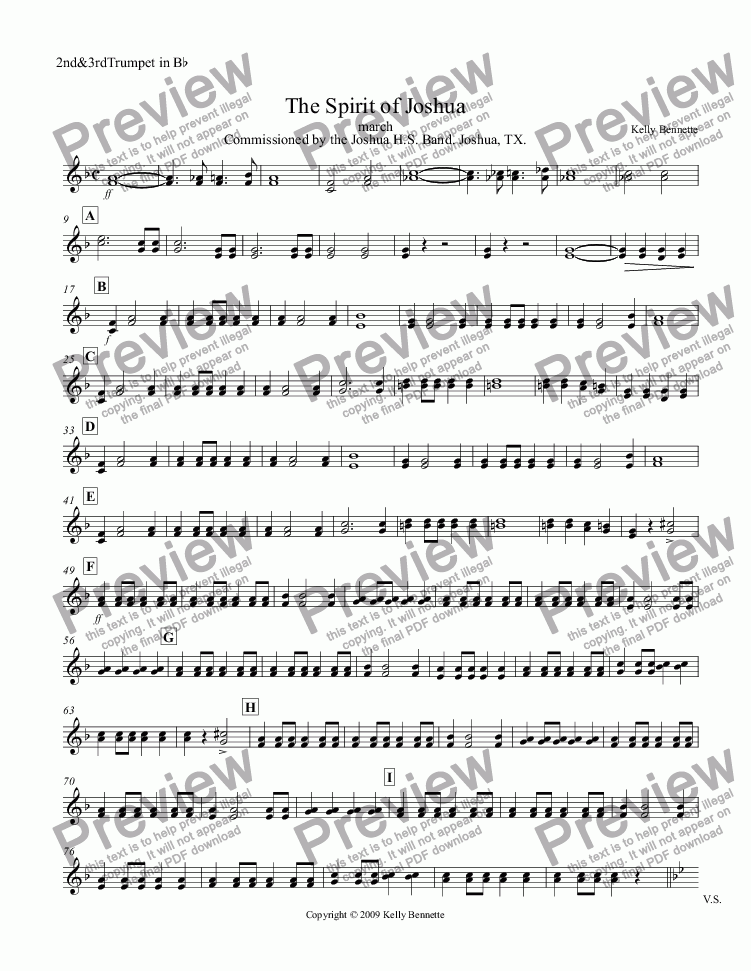 page one of the 2nd&3rdTrumpet in B^b part from The Spirit of Joshua