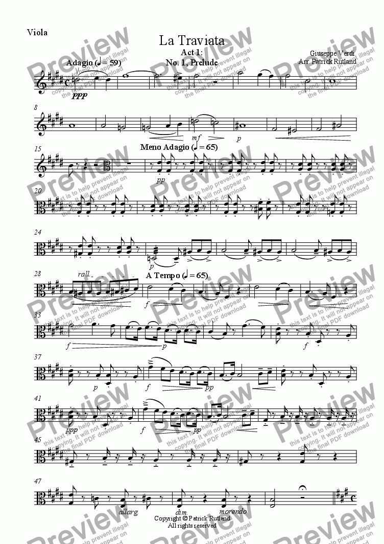 page one of the Viola part from La Traviata, including Brindisi for String Quartet