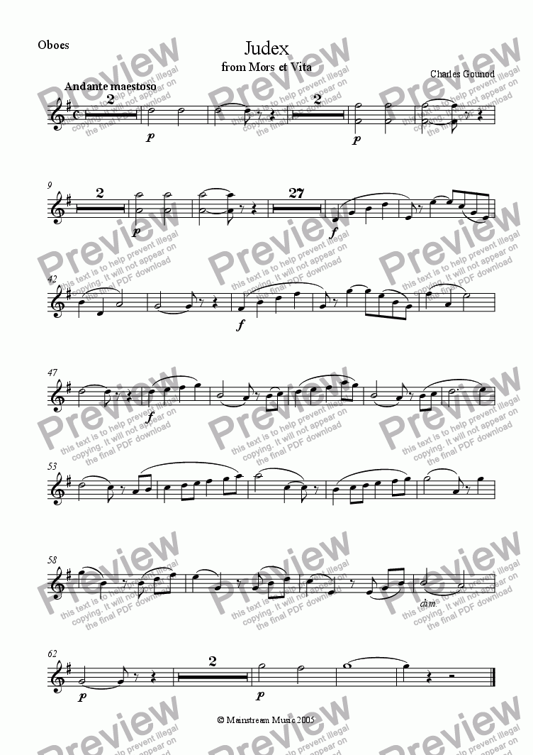 page one of the Oboes part from Judex from 'Mors et Vita' - Full Orchestra