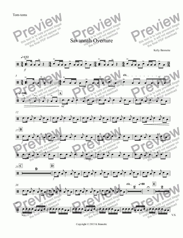 page one of the Tom-toms part from Savannah Overture