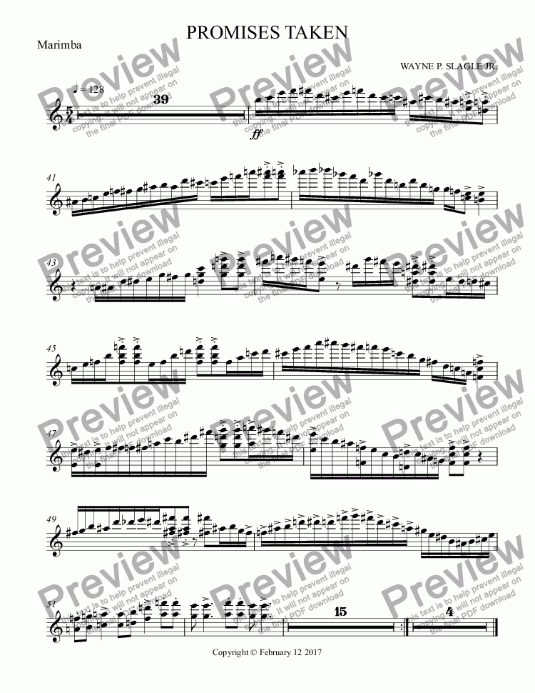 page one of the Marimba part from PROMISES TAKEN