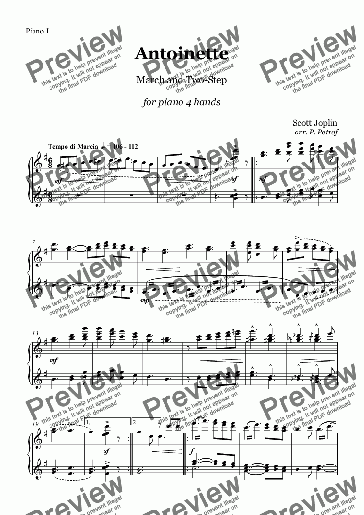 page one of the Piano I part from Joplin - ANTOINETTE - piano 4 hands