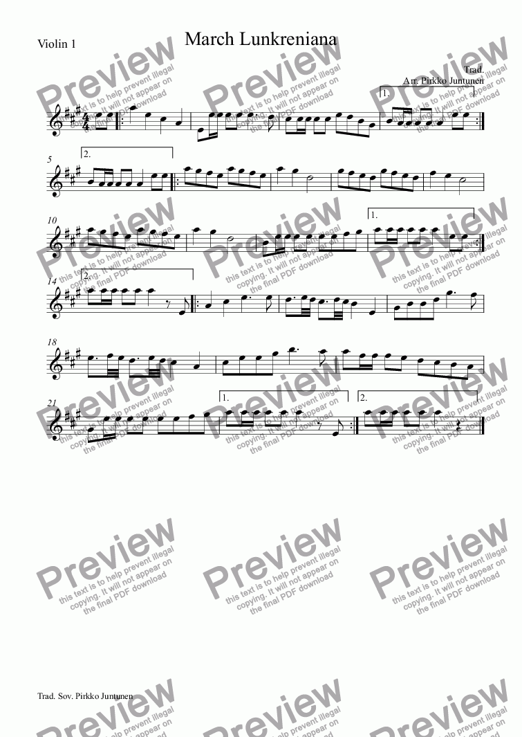 page one of the Violin 1 part from March Lunkreniana