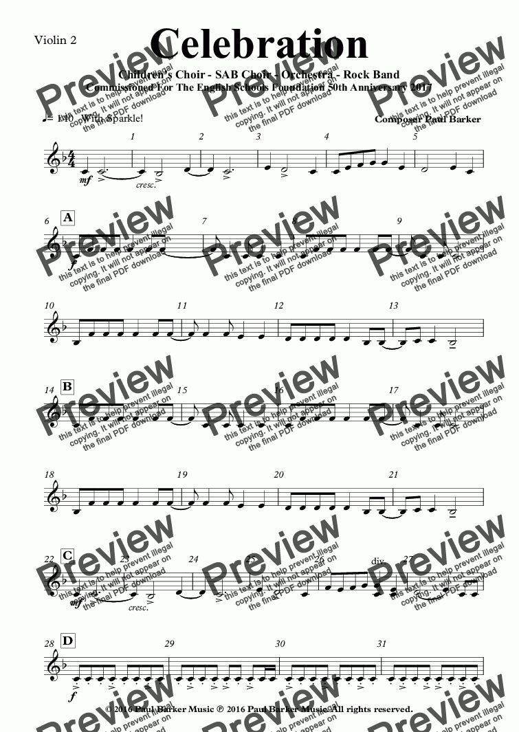 page one of the Violin 2 part from Celebration (SAB Choir- Orchestra - Rock Band)