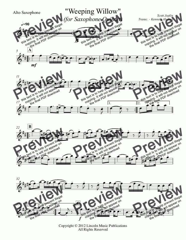 page one of the Alto Saxophone part from Joplin - Weeping Willow (for Saxophone Quintet SATTB)