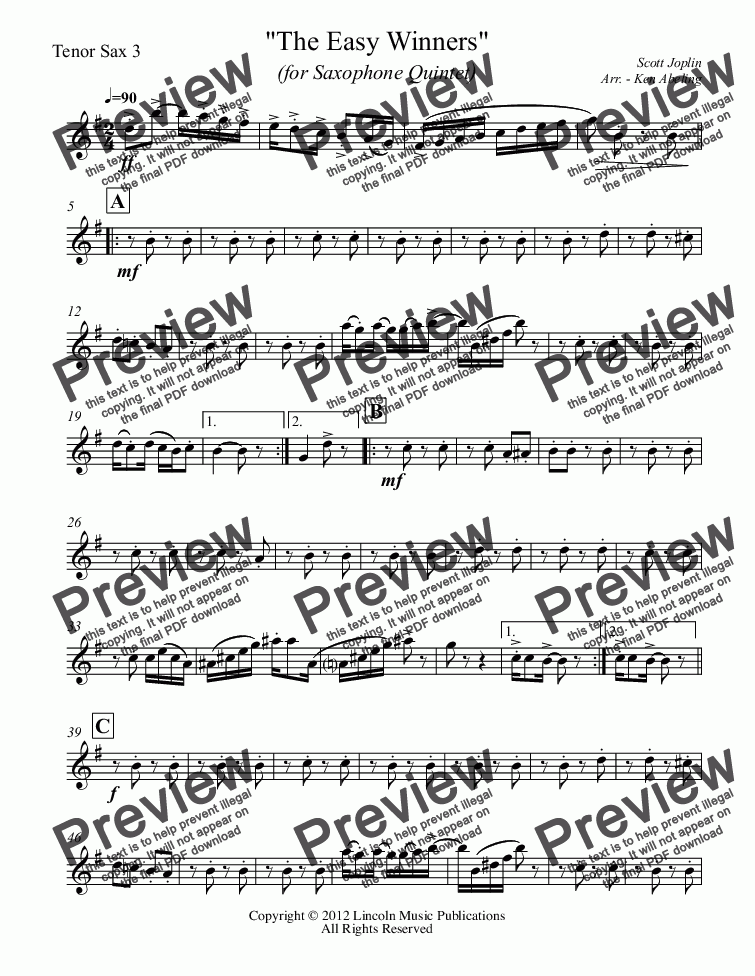 page one of the Tenor Sax 3 part from Joplin - The Easy Winners (Saxophone Quintet SATTB)