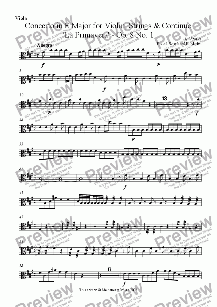 page one of the Viola part from Concerto in E Major Op. 8 No. 1 - 'La Primavera'