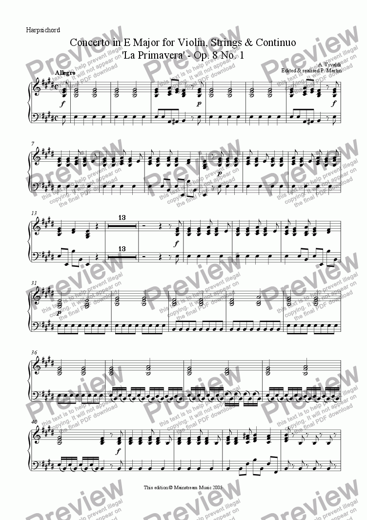 page one of the Continuo part from Concerto in E Major Op. 8 No. 1 - 'La Primavera'