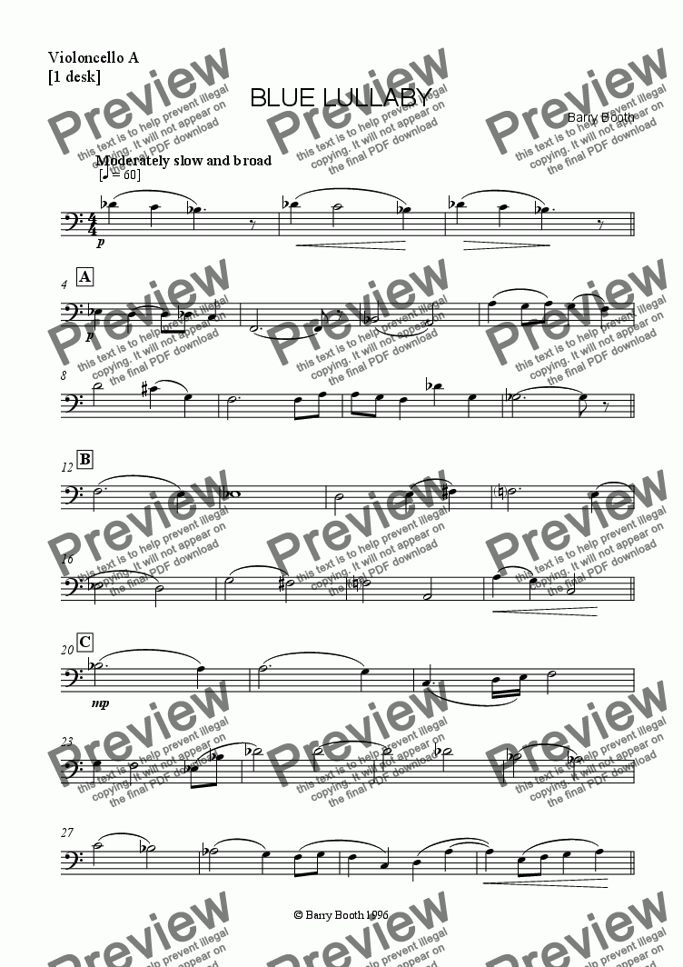 page one of the violoncellos A [1 desk] part from Blue Lullaby