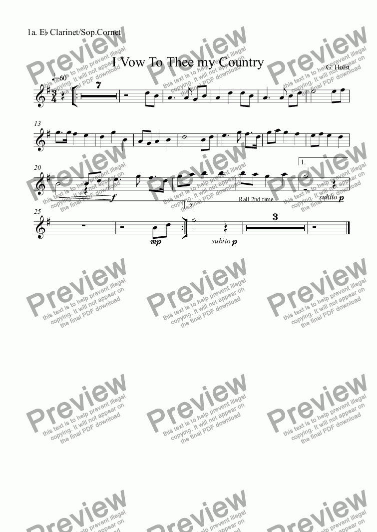 page one of the 1a. E^b Clarinet/Sop.Cornet part from (Combo) Music for Remembrance Sunday: I Vow To Thee my Country
