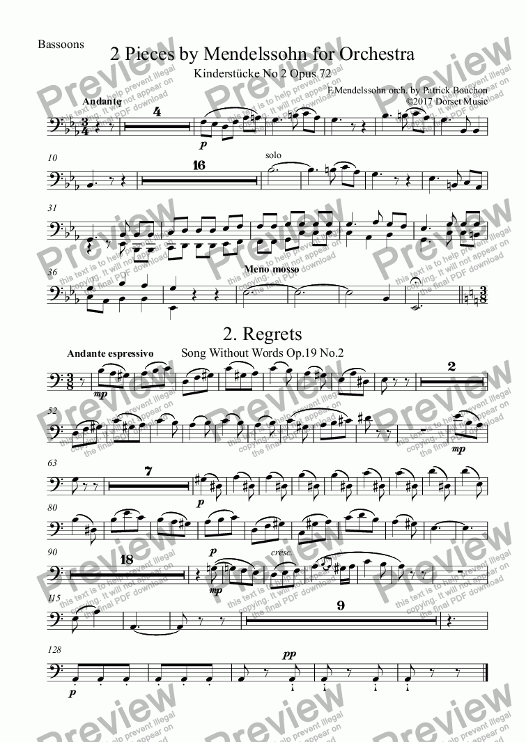 page one of the 2 Bassoons part from 2 Pieces by Mendelssohn for Orchestra