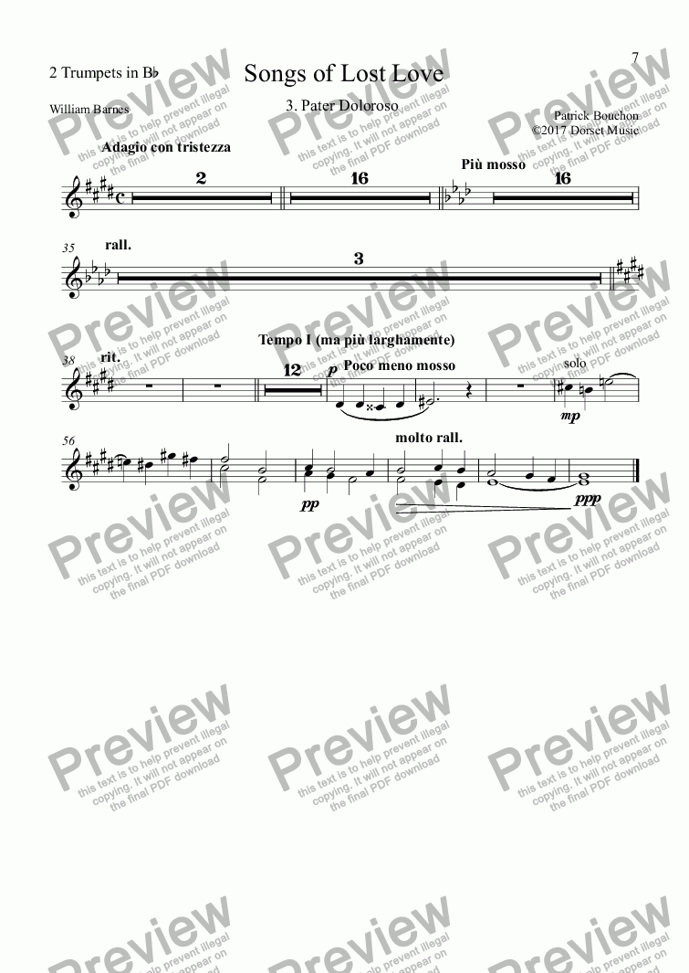 page one of the 2 Trumpets in Bb part from 5 Songs of Lost Love (Orchestral Version) 3. Pater Doloroso
