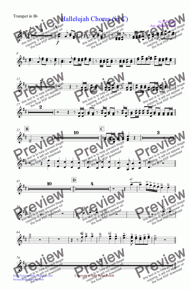page one of the Trumpet in B^b part from Hallelujah Chorus (in C Major)