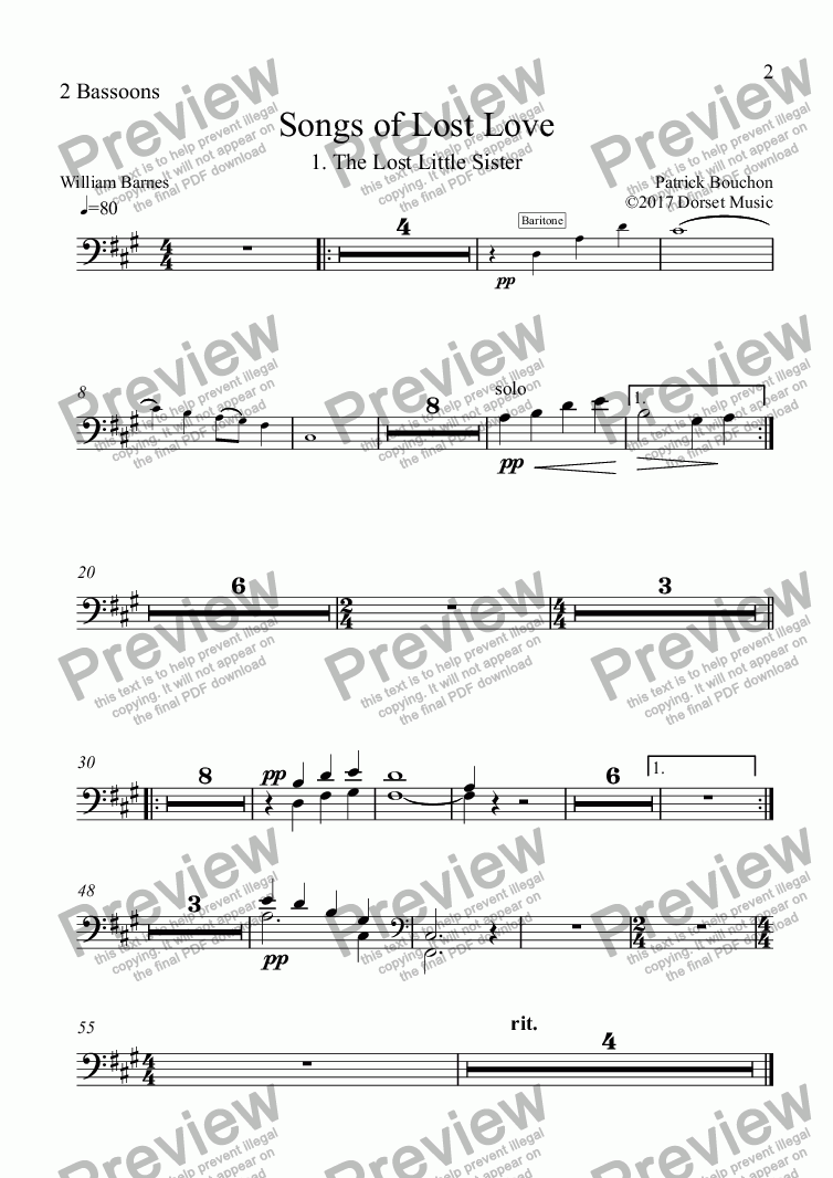 page one of the 2 Bassoons part from 5 Songs of Lost Love (Orchestral Version) 1. The Lost Little Sister