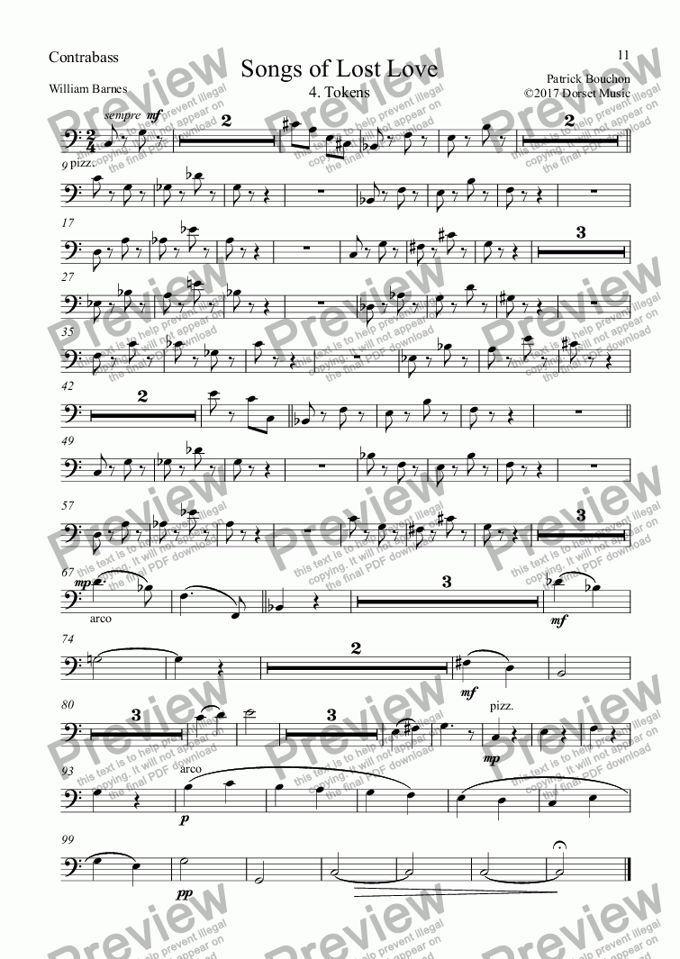 page one of the Contrabass part from 5 Songs of Lost Love (Orchestral Version) 4. Tokens
