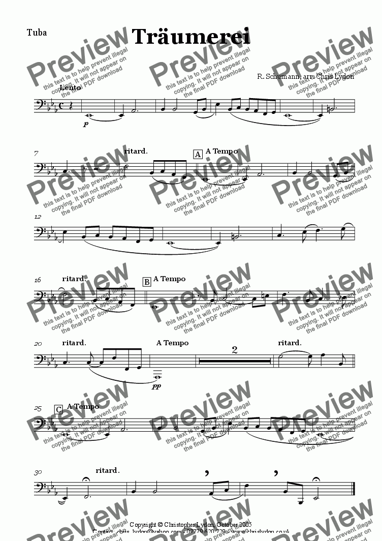 page one of the Tuba part from Tr�umerei