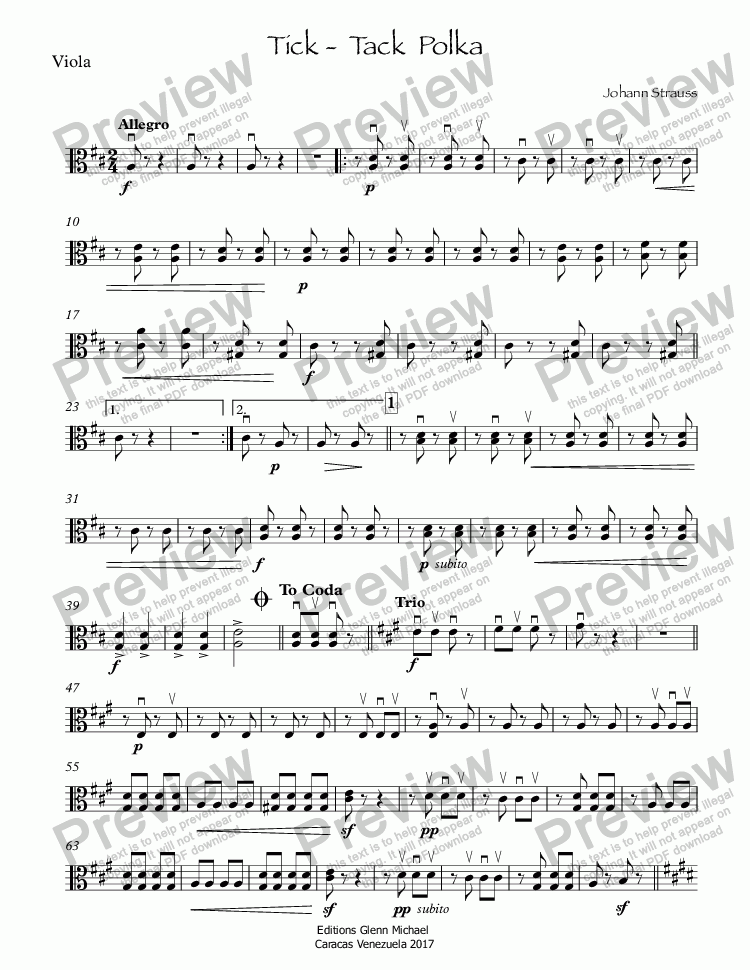 page one of the Viola part from Tick -  Tack  Polka