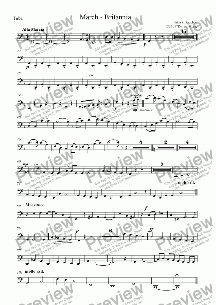 page one of the Tuba part from Britannia (March for Orchestra)