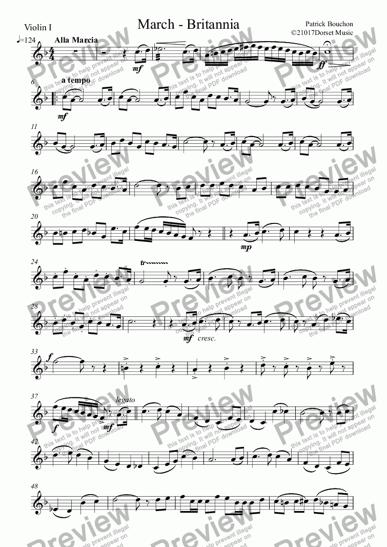 page one of the Violin I part from Britannia (March for Orchestra)
