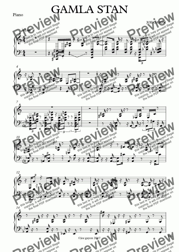 page one of the Piano part from GAMLA STAN