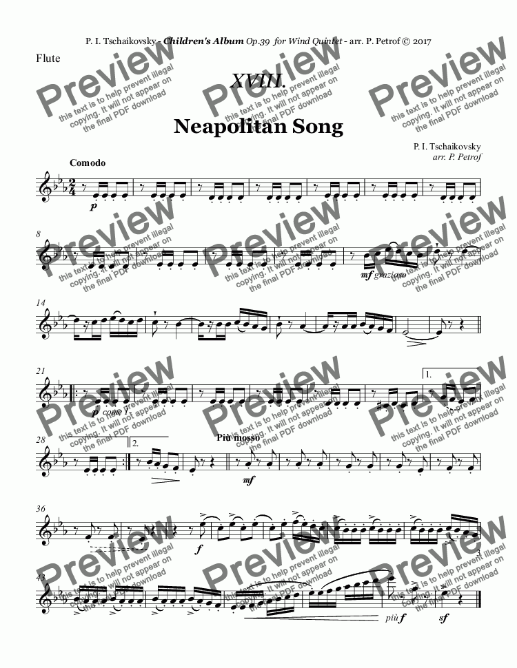 page one of the Flute part from Tchaikovsky - ''Neapolitan Song'' from ''Album for the Young'' Op.39 for Woodwind Quintet