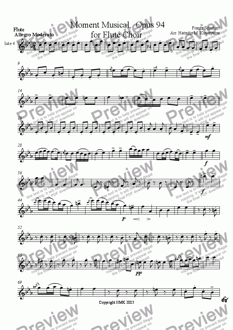 page one of the Flute 4 part from Moment Musical for Flute Choir