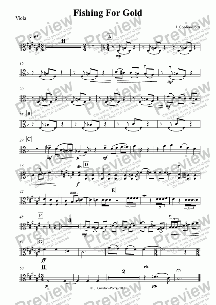 page one of the Viola part from Fishing For Gold